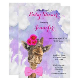 Carte Baby shower de fille d'aquarelle d'animal sauvage