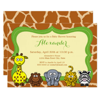 Carte Baby shower de neutre d'animal sauvage de safari