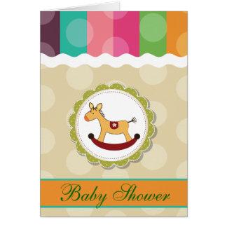 Carte Baby shower de pois de cheval de basculage