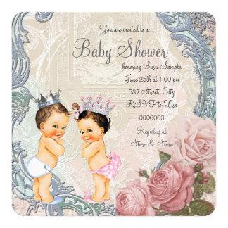 Carte Baby shower de prince et de princesse Twin