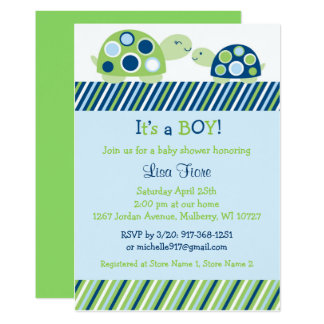 Carte Baby shower de tortue de mod