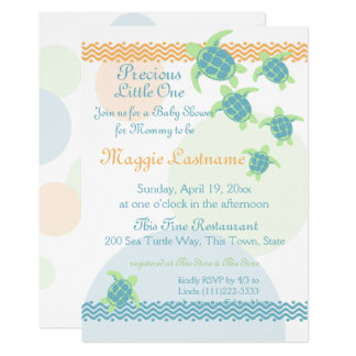 Carte Baby shower de tortues de mer