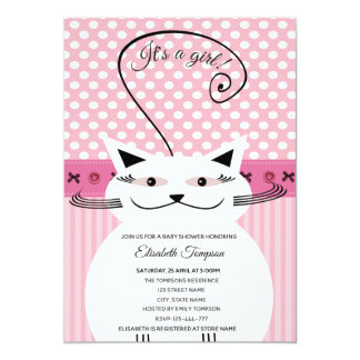 Carte Baby shower drôle mignon adorable de rose de chat