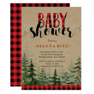 Carte Baby shower en bois de bûcheron de forêt de région