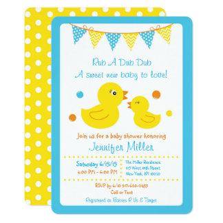 Carte Baby shower en caoutchouc de canard découpé avec