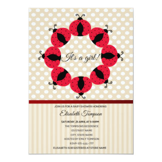 Carte Baby shower girly de coccinelles mignonnes