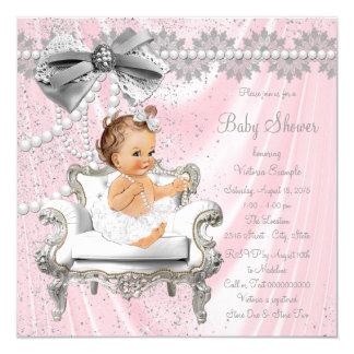Carte Baby shower gris rose de chaise de perle de satin