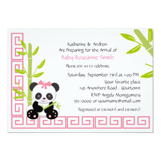 Carte Baby shower mignon de panda de fille