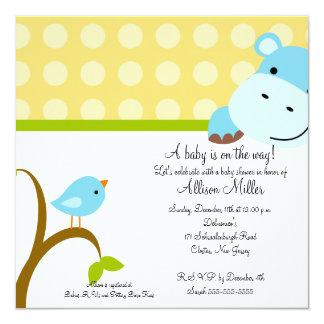Carte Baby shower mignon d'hippopotame et de birdie