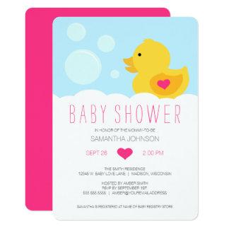 Carte Baby shower mignon en caoutchouc de fille de bain