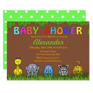 Carte Baby shower neutre animal de jungle de safari