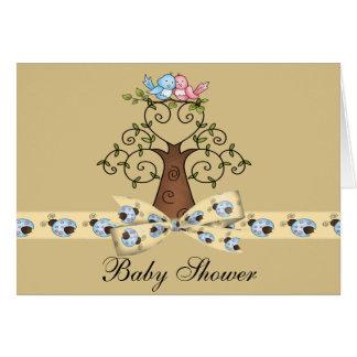 Carte Baby shower neutre de perruches et de coccinelles