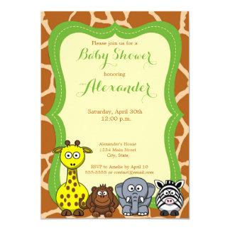 Carte Baby shower neutre sauvage animal de safari de