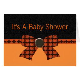 Carte Baby shower orange et noir de batte