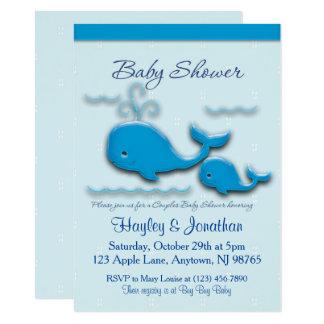 Carte Baby shower personnalisable de baleine de couples