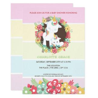 Carte Baby shower personnalisé par licorne mignonne