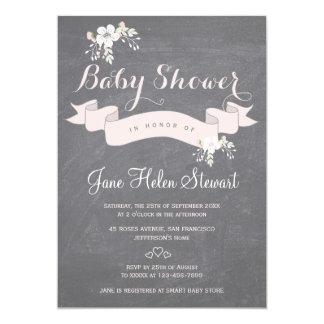 Carte Baby shower rose-clair floral de ruban de tableau
