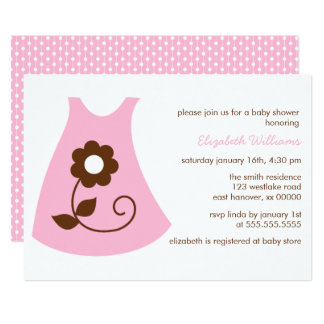Carte Baby shower rose de fille de robe de bébé