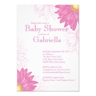 Carte Baby shower rose et blanc moderne de marguerite de