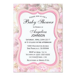 Carte Baby shower rose floral chic minable élégant