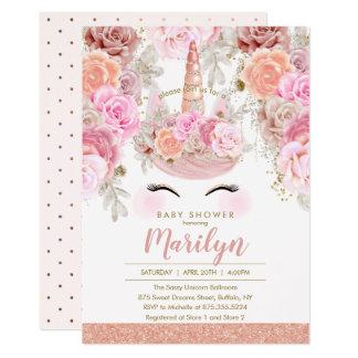 Carte Baby shower rose floral de licorne de parties