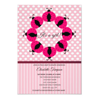 Carte Baby shower rose girly de coccinelles mignonnes