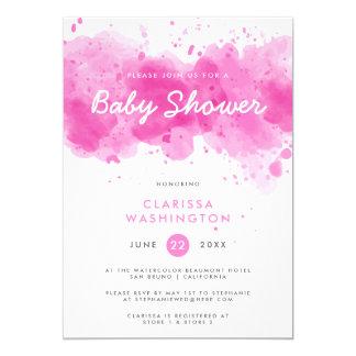 Carte Baby shower rose moderne de typographie de