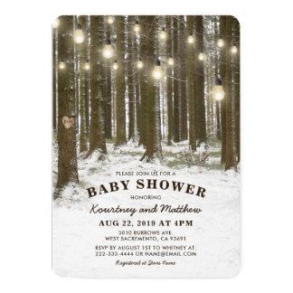 Carte Baby shower rustique d'arbre de région boisée du