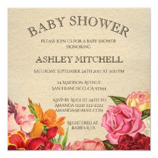 Carte Baby shower vintage chic minable floral élégant