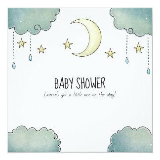 Carte Babyshower de lune et d'étoiles
