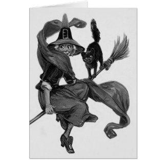 Carte Balai monochrome de chat noir de sorcière