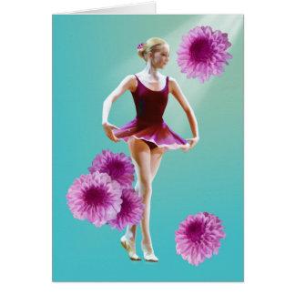 Carte Ballerine en rouge avec des chrysanthèmes,