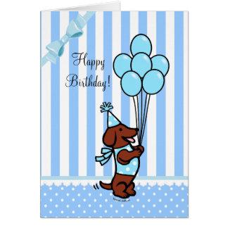 Carte Ballons de bande dessinée d'anniversaire de teckel