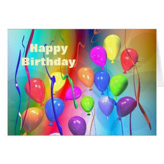 Carte Ballons lumineux d'anniversaire