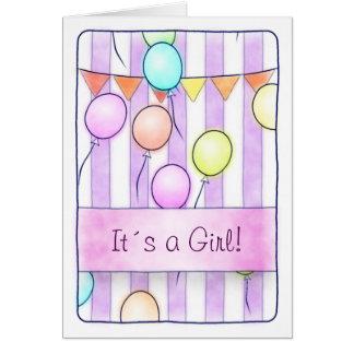 Carte Ballons sur les rayures roses