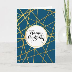Carte Bande abstraite géométrique bleue masculine