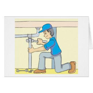 Carte Bande dessinée amicale de plombier