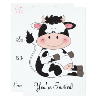 Carte Bande dessinée mignonne de vache à bébé