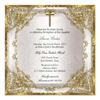 Carte Baptême/baptême beiges de croix de damassé de