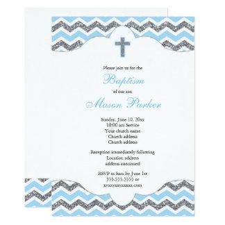 Carte Baptême de baptême de garçon de scintillement de