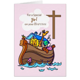 Carte Baptême de l'arche de Noé de fille, animaux