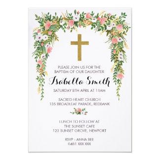Carte Baptême d'or rose/invitation floraux de baptême