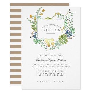 Carte Baptême floral succulent d'aquarelle du jardin  