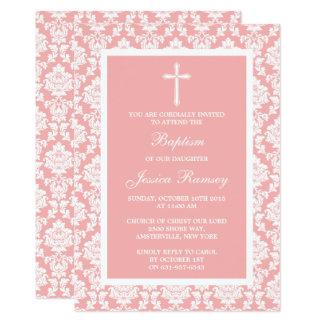 Carte Baptême ou baptême rose de croix de damassé