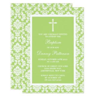 Carte Baptême ou baptême vert de croix de damassé