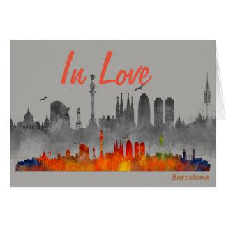 Carte Barcelone In Love watercolor skyline Double Ville