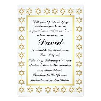 Carte Barre d'étoile de David d'or/invitation de bat