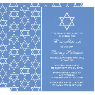 Carte Barre juive bleue et blanche chic Mitzvah d'étoile