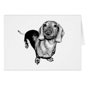 Carte Basset allemand noir et blanc tramé Doxie de photo