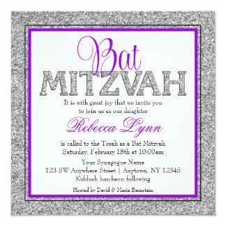Carte Bat mitzvah fascinant de pourpre d'argent de